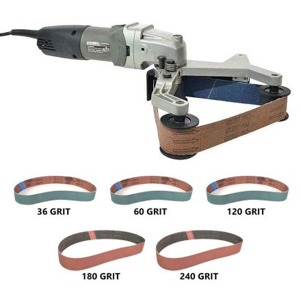 Hardin HPG-331-K Variable Speed 700-3000Rpm Pipe Polisher 800W Includes 36, 60, 120, 180 & 240 Grit Aluminum Oxide Sanding Belts