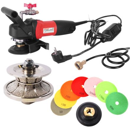 Hardin V40WVPOLSET220 200V 4 Inch Var Speed Polisher, 1-1/2 Inch Full Bullnose Diamond Profile Wheel and 8 pc 4 Inch Diamond Polishing Pad Set (220 Volt is for Europe and parts of Asia and Central America)