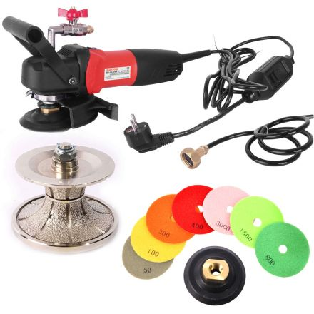Hardin V50WVPOLSET220 220 Volt 4 Inch Var Speed Polisher, 2 Inch Full Bullnose Diamond Profile Wheel and 8 pc 4 Inch Diamond Polishing Pad Set (220 Volt is for Europe and parts of Asia and Central America)