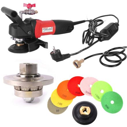 Hardin 316WVPOLSET220 3/16 Inch Radius Diamond Profile Wheel, WP800-220 4 Inch Var Speed Polisher and 8 pc 4 Inch Diamond Polishing Pad Set (220 Volt is for Europe and parts of Asia and Central America)