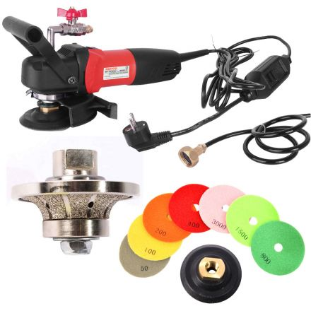 Hardin 34WVPOLSET220 3/4 Inch Radius Diamond Profile Wheel, WP800-220 4 Inch Var Speed Polisher and 8 pc 4 Inch Diamond Polishing Pad Set (220 Volt is for Europe and parts of Asia and Central America)
