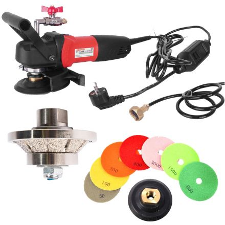 Hardin 38BWVPOLSET220 45° 3/8 Inch Diamond Profile Wheel, WP800-220 4 Inch Var Speed Polisher and 8 pc 4 Inch Diamond Polishing Pad Set (220 Volt is for Europe and parts of Asia and Central America)