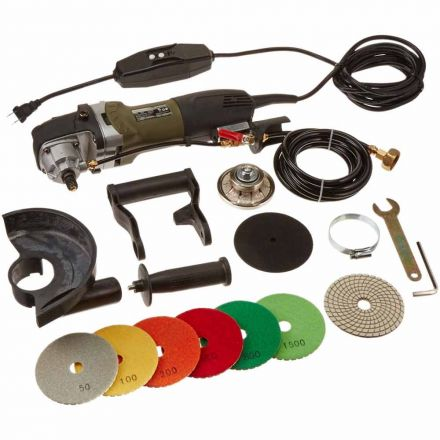 Hardin H38WVPOLSET VSP5 5 Inch Var Speed Polisher, 3/8 Inch Radius Diamond Profile Wheel and 8 pc 4 Inch Diamond Polishing Pad Set