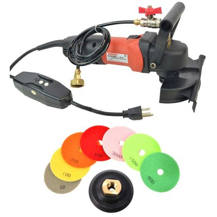 Hardin WV5GRIN 4 Inch Variable Speed Wet Polisher and Grinder and 8 pc 5 Inch Diamond Polishing Pad Set